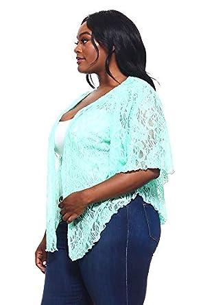 Amazon.com: Chaqueta de encaje suave para mujer, color verde ...