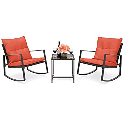 Best Choice Products 3-Piece Wicker Patio Bistro Furniture Set w/ 2 Rocking Chairs and Glass Side Table, Red - ELEGANT 3-PIECE BISTRO SET: Complete with 2 relaxing chairs and an attractive glass table top bordered with wicker, perfect for enjoying drinks and coffee and for placing decor CUSHIONS WITH WASHABLE COVERS: Thick padded cushions for ultimate comfort, made with removable, water-resistant covers for easy washing and maintenance ROCKING CHAIR DESIGN: Chairs are made with a comfortable rocking chair design that has extra support and balance, so you can relax after a long day on your feet - patio-furniture, patio, conversation-sets - 41y4MQIDSxL. SS400  -