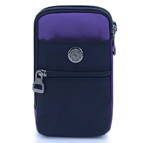 liangdongshop Water Resistant Waist Fanny Pack Cell Phone Pouch with Shoulder Strap(Purple)