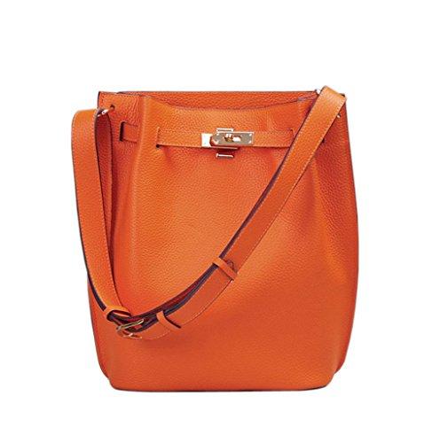Ainifeel Women's Genuine Leather Bucket Shoulder Handbags Hobo Purse (Orange) by Ainifeel