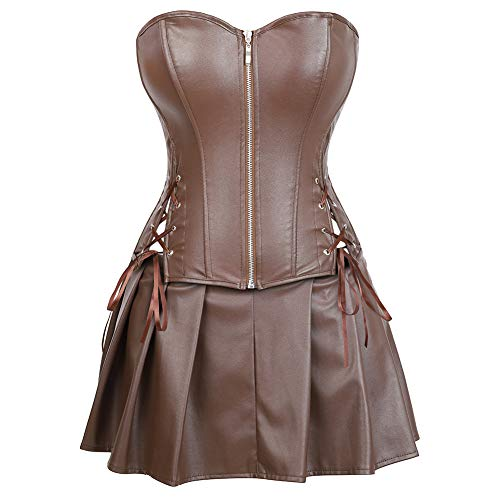 Plus Size Corset Tutu (Grebrafan Women's Zip Corset Faux Leather Bustier with Mini Skirt (US(18-20) 5XL,)