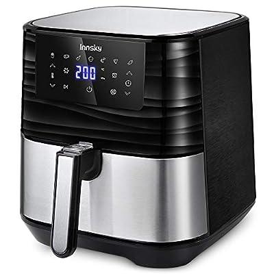 Innsky 5,5L XXL Friteuse sans huile en acier inoxydable avec écran LCD numérique, 7 programmes, Friteuse à air chaud…