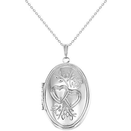 Silver Tone Oval Pendant (Silver Tone Oval Double Heart Photo Locket Pendant Necklace Womens 19
