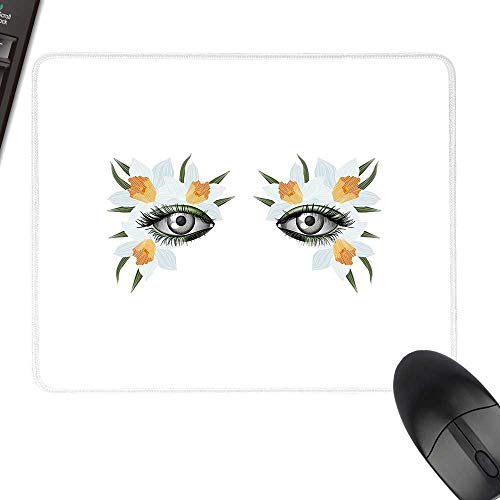(Eyelash Thicken Mouse Pad Look of Spring Photorealistic Eye Artistic Makeup with Flowers Narcissus Keyboard Mouse Pad 23.6