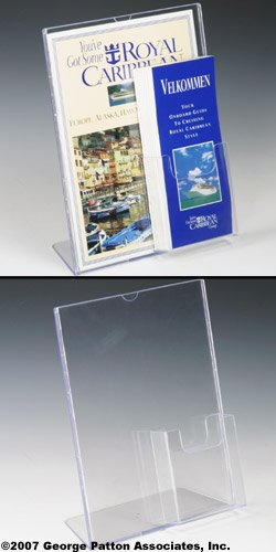 Displays2go Sign Frames for 8.5 x 11 Inches Posters with Brochure Pocket for 4-Inch Pamphlets, Molded Plastic Tabletop Sign Holders with Slant Back Design (590501SD) by Displays2go