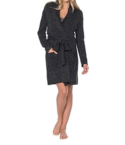 Barefoot Dreams Bamboo Chic Lite Heathered Short Ribbed Robe (2, BLACK / GRAPHITE) by Barefoot Dreams