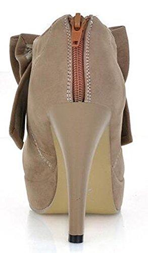 Chfso Womens Élégant Stiletto Bow Solide Velours Bout Rond Bas Top Slip Sur Talon Haut Escarpins Abricot