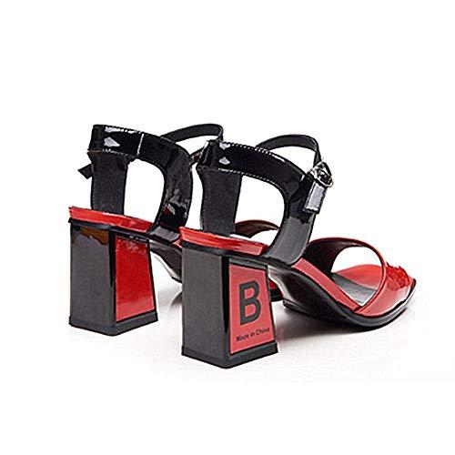 36 tacón Sandalias Hebilla Abierta Rojo 2 con EU AnchengKAO de Alto tamaño Cuadrada tacón Zapatos la Color con de 3 a Blanco Cabeza con Juego Punta HPP10z