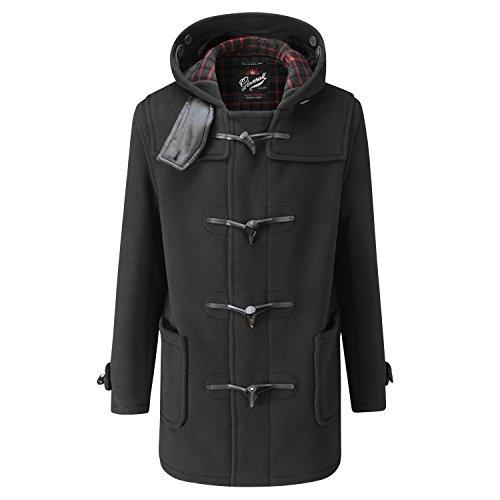61b1b7050 GLOVERALL Men's Mid Length Duffle Coat 46 Black