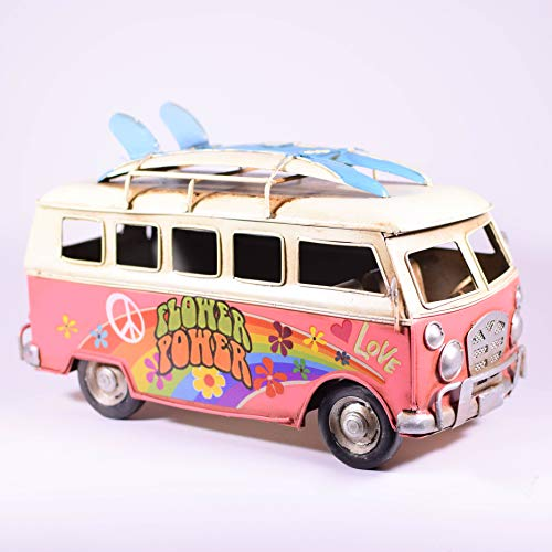 EliteTreasures Retro Metal Collectible Pink Hippie Van Model - Camper Decor Surfboards on roof - 10
