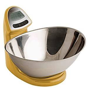 Typhoon Vision Stainless Steel Digital Food Kitchen Scale, Mustard