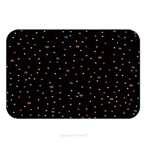 Franela de microfibra antideslizante suela de goma suave absorbente Felpudo alfombra alfombra alfombra colorido lunares con flores sobre fondo negro 555867940perfecta para interior/exterior/cuarto de baño/cocina/Estaciones de trabajo