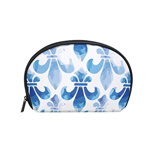 Fleur De Lis Blue Sea Womens Half Moon Cosmetic Bag Makeup Pouch Shell Toiletry Kits