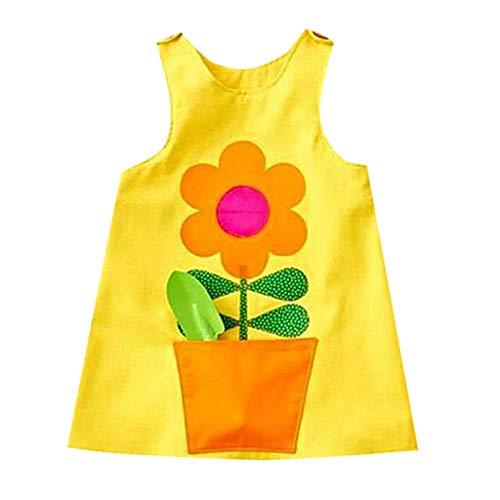 MOGOV Toddler Kids Baby Girl Summer Cute Sunflower Print Princess Strap Casual Dress Sundress Summer Yellow ()