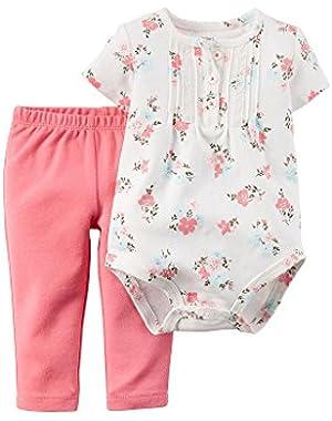 Baby Girls 2 Piece S/S Flower Bodysuit & Pants Set