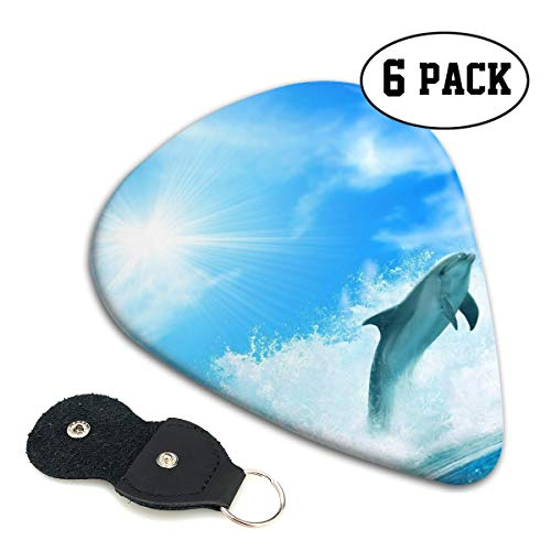 (Hhill Swater Surfing Dolphin Stylish Colorful Guitar Picks (6 Pieces) for Electric Guitar,Acoustic Guitar,Mandolin,Bass Guitar Accessories Includes 0.46mm, 0.71mm, 0.96mm)