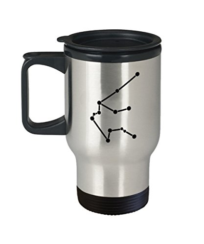 Aquarius Constellation Travel Mug Unique - Stars Appear in The White Sky-11 OZ-Ceramic-Gifts for Birthday,Christmas-Aquarius - Travel Mug Travel COF