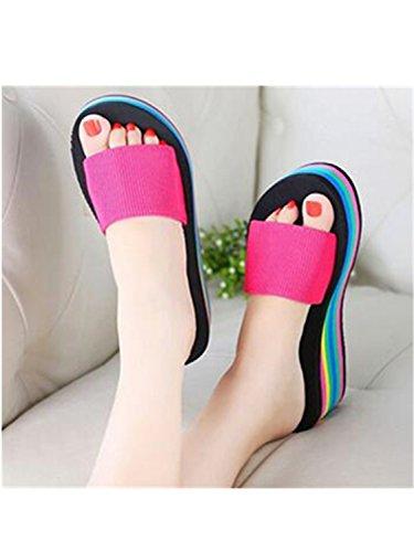 New Wedge Shoes Muffin 8 Sandals Heels Women Rainbow Summer Jwhui Home Beach Leopard Sandals Fashion Slippers Sandals PWq7xwwtF4