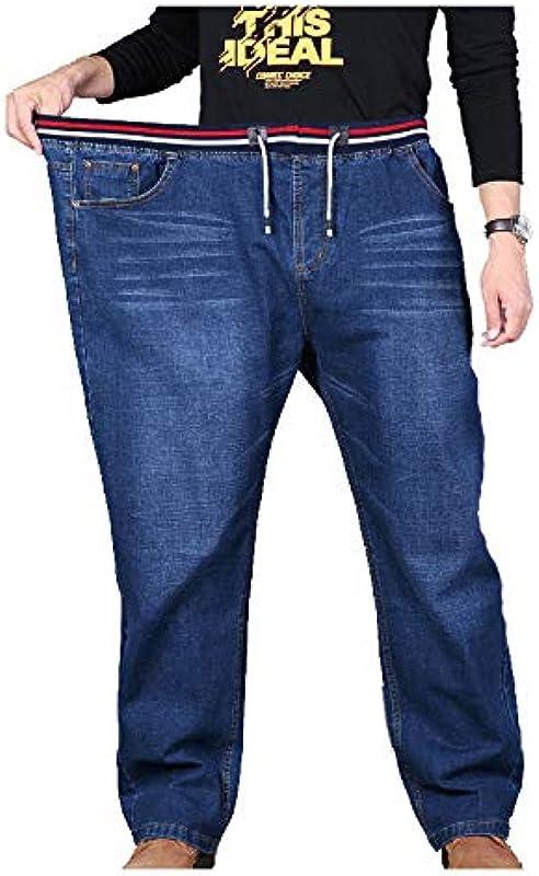 LANJ Męskie High Waist Große Gerade Lose Casual Jeans: Odzież