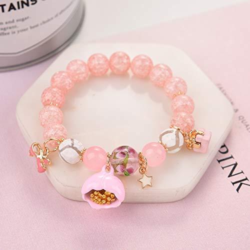 Women Gift Personalized Bracelets Women Girls Student Girlfriend Crack Crystal Cute Pearl Bracelet Bangle Flowers Jewelry Bracelets Hand (# 7 Pink Orchid Bell (Orchid Pink Wristlet)