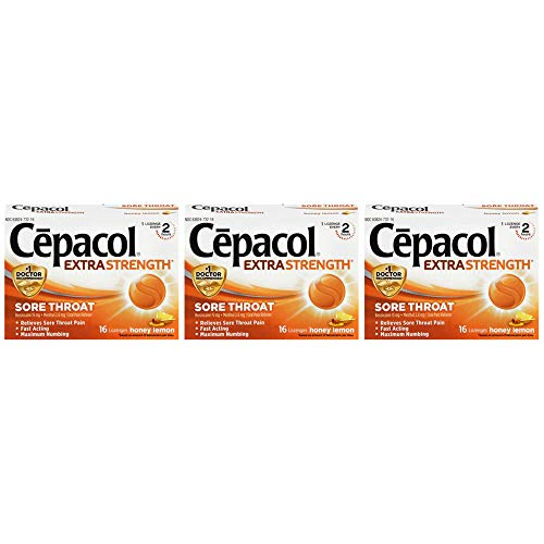 Sore Throat Relief Lozenges - Cepacol Maximum Strength Throat Drop Lozenges, Honey Lemon, 16 Count (Pack of 3)