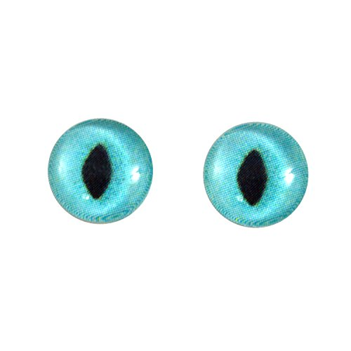 10mm Turquoise Glass Cat Eyes Animal Pair Realistic Taxidermy Sculptures or Jewelry Making Crafts Set of - Cat Eyes Glass