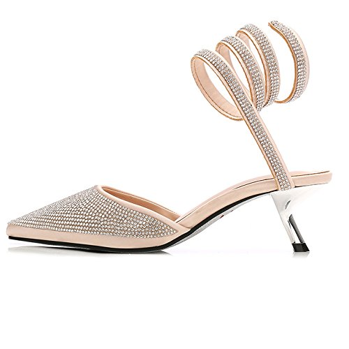Dames Party Sangle ZXCB Taille Sandales A Cheville Chaussures Prom Pointu Wedding Femmes Haute Talon Toe FpqRw8
