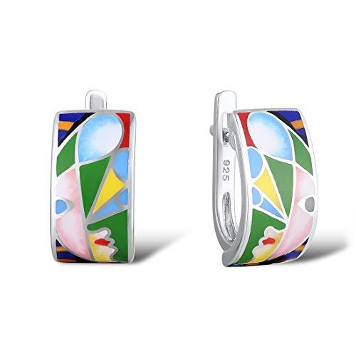 Santuzza 925 Sterling Silver Colorful Handmade Enamel Earrings Infinity Element Party Fashion Jewelry