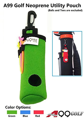A99 Golf Utility Pouch Neoprene Golf Balls Holder Tees Accessories Bag with Clip (Blue)