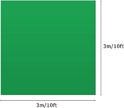 10 pies Tel/ón de fondo de pantalla verde profesional Fotograf/ía de estudio Fondo Lavable Durable Tejido de poli/éster-algod/ón Dise/ño sin costuras de una pieza para retratos Disparo Andoer 3*3 m 10