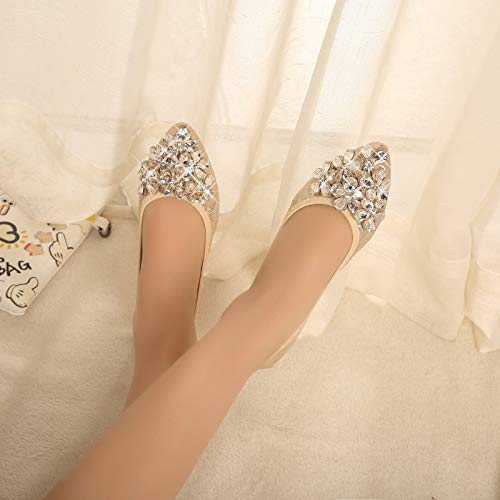 scarpe scarpe fondo portatile singola punta donna morbido moda FLYRCX strass pieghevoli casual donne basse D balletto confortevole a incinte Scarpe qwZppPUnAz