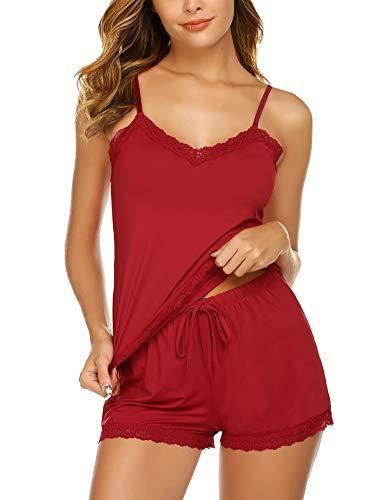 Avidlove Women's Pajama Cami Set Lace Nightwear 2 Piece Short Sleepwear(Red,S) (Shorts Para Mujer)