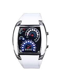Yesurprise Fashion Silicone Rubber Band Blue Binary DOT Unisex LED Wrist Watch White