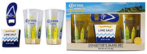 Corona Costume (Corona Extra Collectors Set 16oz Beer Glasses w/ Corona Surf Board Decal Wrapped Pint Glasses Set of Two (2) with Flip Flop Corona Bottle Opener & Lime Flavored Rimming)