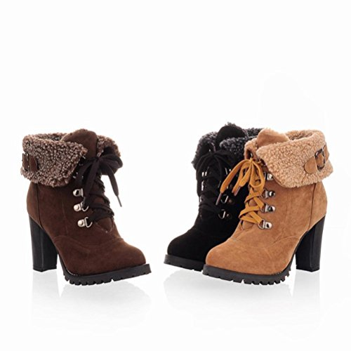 Ankle Black hunpta Lace Boots Heel up Women's Winter Boots High Casual Plush qqwBPS7xFz