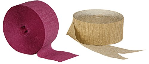 Gold Metallic Crepe Paper Combinations (Plum and Gold Metallic), 290 FEET Total, MADE IN - Gold Plum