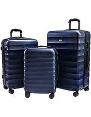 CarryOne Valigie Set Trolley Rigido Bagaglio a Mano con 4 Rotelle Girevole, Rigidi e Leggeri Valigia da Viaggio Set da 3 Pezzi 55cm, 64cm, 74cm-TD2(Blu)