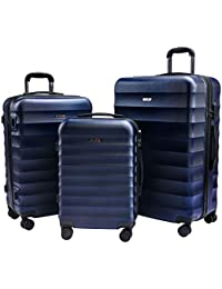 CarryOne Luggage 3 Piece Set with spinner wheels Hardshel Lightweight Suitcase 20 24 28 inch TD2(blue)