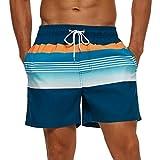 SILKWORLD Men's Quick Dry Swimming Trunks with Mesh Lining Bathing Suit Sports Shorts, Blue/Orange Stripe, XX-Large