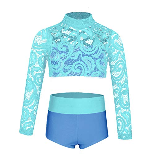 - YiZYiF Girls' Kids 2 Piece Athletic Long Sleeve Turtleneck Crochet Top and Shorts Set for Workout/Gymnastics/Dancing Mint&Blue 6