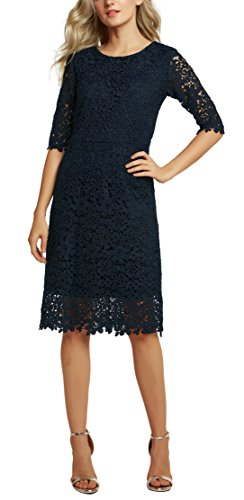 Bodycon Midi Robe Slim de Fourreau GoCo Cocktail Robe Floral Soire Urban Bleu Dentelle Marine fit Crmonie Femmes nUXx8