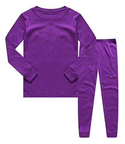 Boys Girls Kids Pajamas Solid Colors 2 Piece Pajama Pants Set 100% Cotton Purple Size 6