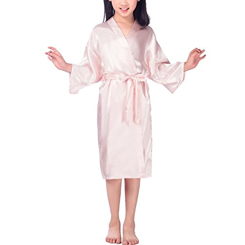 MZLIU Girls' Satin Solid Color Robe For Party Wedding Bridesmaid Sleepwear by MZLIU