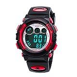 Kids Watches,Digital Sports Watch Features Night-Light,Swim,Frozen,Waterproof Kids Watch,Red