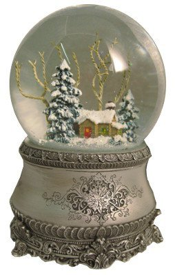 """Roman 5.5"""" Cottage with Tree Glitter Silver Base 100mm Dome Plays I"""