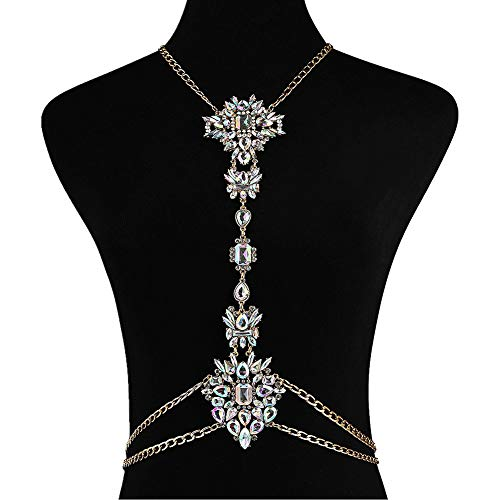 NABROJ Body Chain with Gold Tone Chain Crystal Glass for Women Novelty Necklace 1 PC with Gift Box-STL01 -