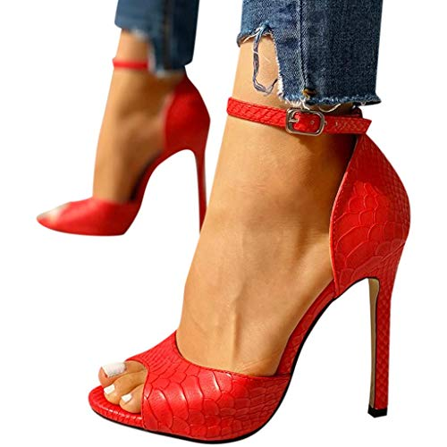 Cenglings Women's Sexy Peep Toe Snakeskin Print Ankle Strap Buckle Stiletto Heel Pumps Hollow Out Shallow Sandals Party Shoes Red