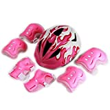 Besmall Skateboard / Skate Protection Pads Set with Helmet--Helmet with 6pcs Elbow Knee Wrist Pads for Kids Youths BMX/Scooter/Cycling/Roller