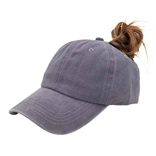 Eohak Ponytail Baseball Hat Distressed Retro Washed Cotton Twill (Grey) ()