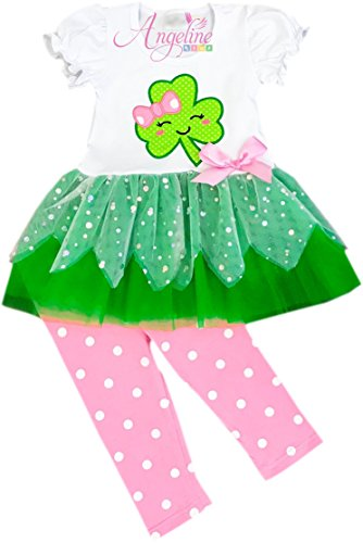 Angeline Girls Saint Patricks Day Happy Clover Shamrock Capri Tutu Set Set - Usa Business Days